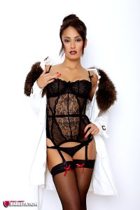 TelephoneModels.com Amber James September 1st 2011 1 200x300 Amber James Fur Coat And Black Lingerie