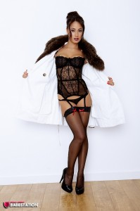 TelephoneModels.com Amber James September 1st 2011 2 199x300 Amber James Fur Coat And Black Lingerie