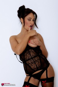 TelephoneModels.com Amber James September 1st 2011 6 199x300 Amber James Fur Coat And Black Lingerie