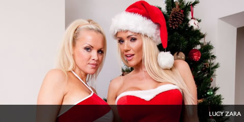TelephoneModels.com Lucy Zara Frankie Babe Christmas Shoot Lucy Zara & Frankie Babe Girl/Girl Christmas Shoot